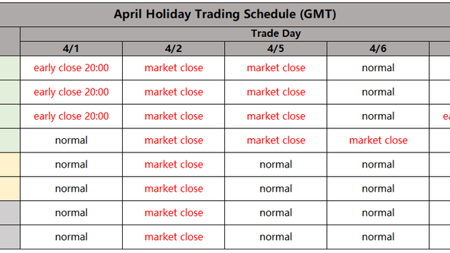 April Holiday Trading Schedule