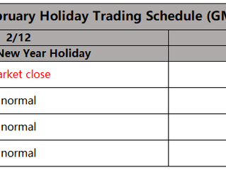 February Holiday Trading Schedule