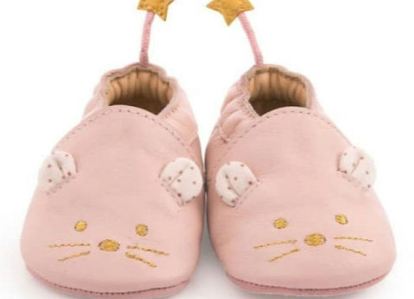 Chaussons cuir souris rose -Moulin Roty