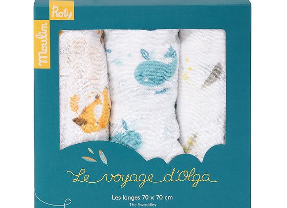Set de 3 langes imprimés Le Voyage d'Olga Moulin Roty