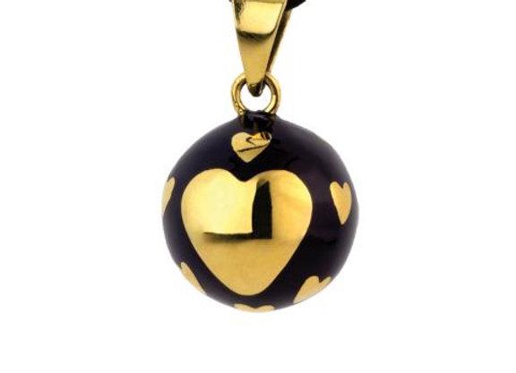 Bola noir cœur doré