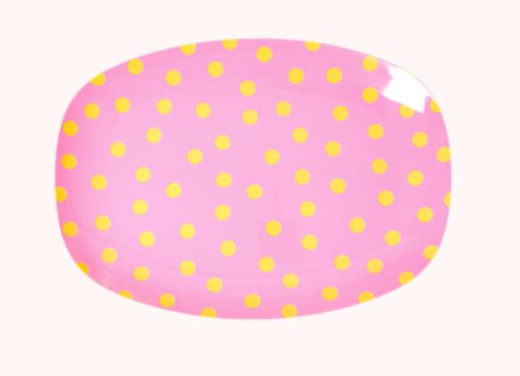 Petite assiette rectangulaire pois roses