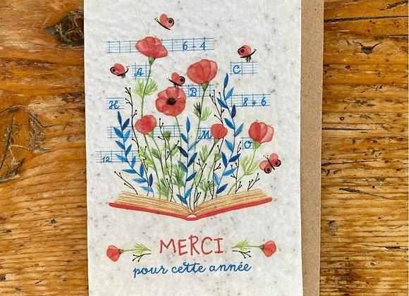 Carte merci coquelicots