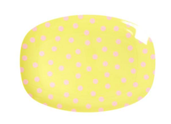 Petite assiette rectangulaire pois jaunes