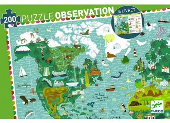 Puzzle observation 'Tour du monde' 200 pcs DJECO