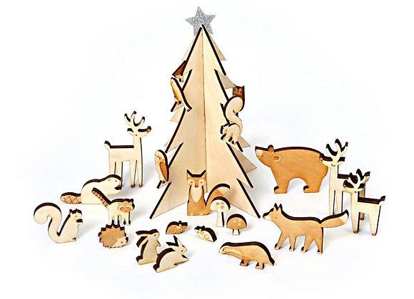Calendrier de l'avent animaux en bois