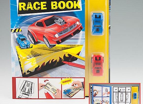 livre avec 2 voitures de course