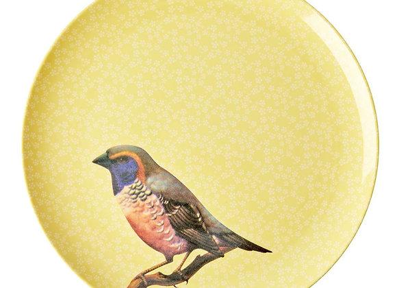 Assiette Oiseau jaune