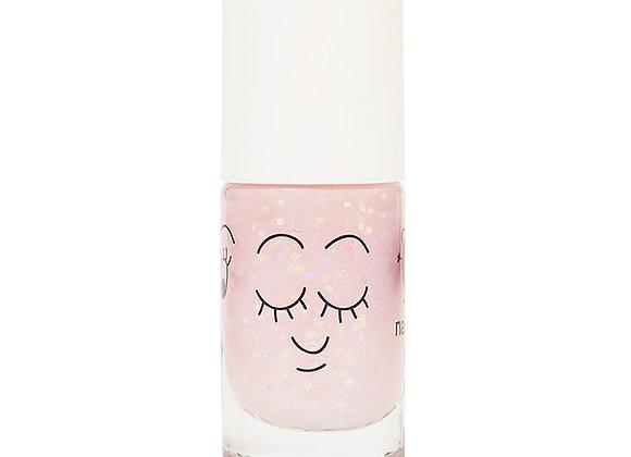 Vernis enfants : Polly - rose transparent paillettes