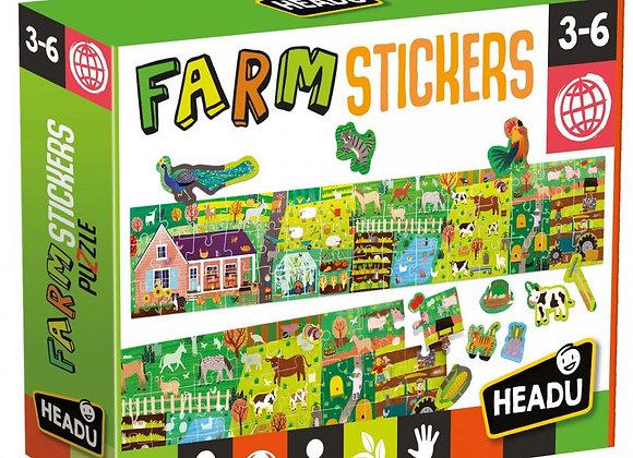Puzzle + Stickers The Farm - HEADU
