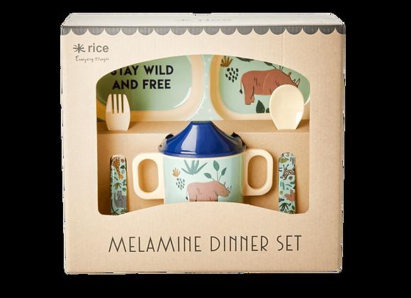 set vaisselle mélanine animaux - bleu