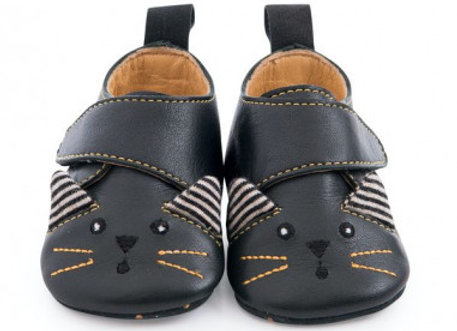 Chaussons cuir chat noir  -Moulin Roty