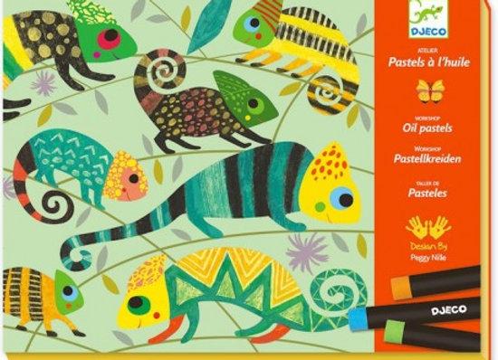 Coffret Atelier Pastels à l'huile 'Jungle colorée' - Deco