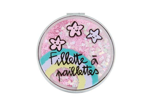 Miroir de poche Fillette à paillettes