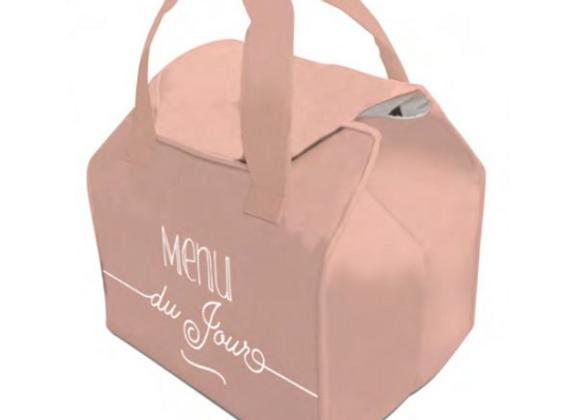"""lunch bag isotherme """"Menu du jour"""" rose"""