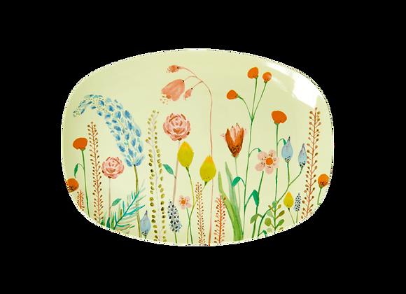 Petite assiette rectangulaire fleur d'été