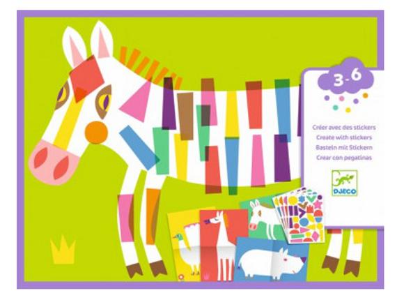 Créer avec des stickers  grands animaux.Djeco