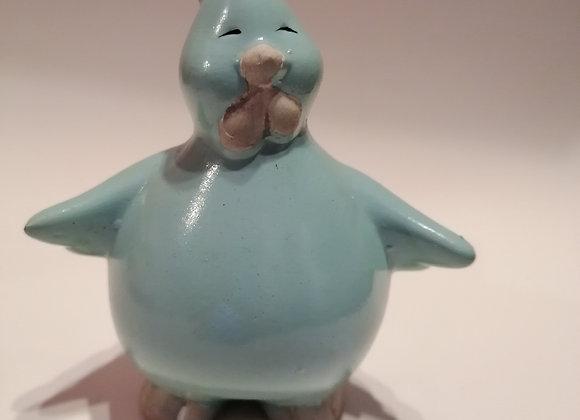 Poule céramique bleu clair