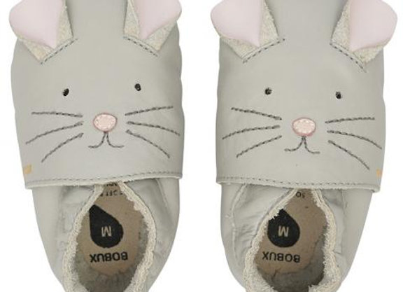 Chaussons cuir chat gris