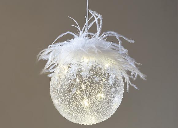 Boule suspendue en verre plumage led - (985)
