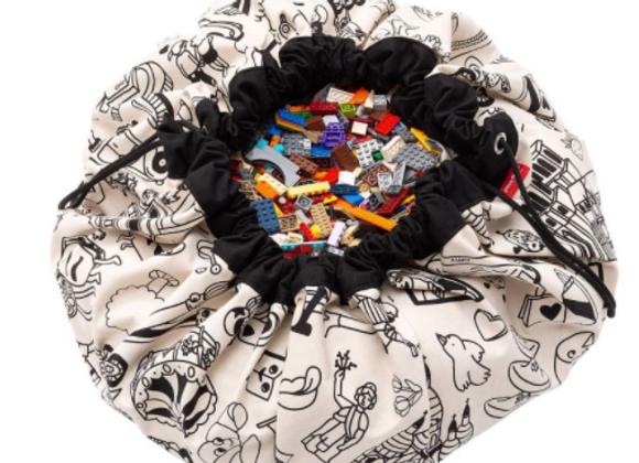 Sac de rangement de jouets et tapis de jeux à colorier motif Paris
