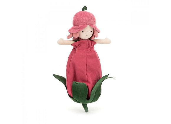 Poupée dans fleur rose