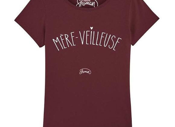T shirt MÈRE VEILLEUSE bordeaux - 3 tailles