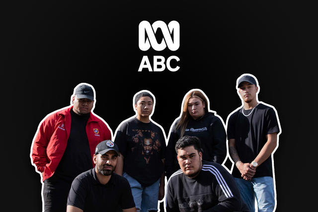 """group of baha'is standing in front of a black background with the """"ABC"""" logo in white large text at the top"""