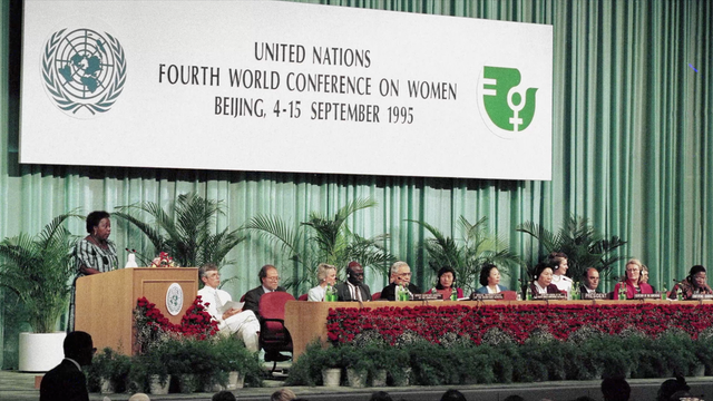 a picture is shown of the 1995 UN fourth world conference on women