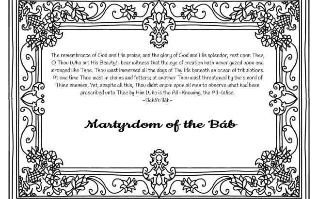 A Gift Coloring Activity for the Martyrdom of the Báb