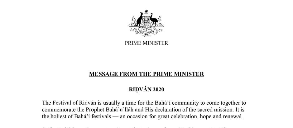 Ridvan greetings from Prime Minister of Australia