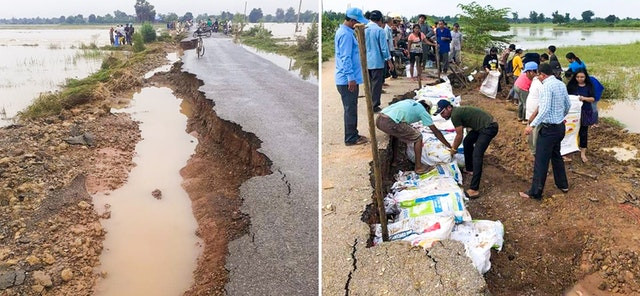 two images are shown, on the left you see the road badly damaged and eroded, on the right you can see people of all ages planting on the side of the road