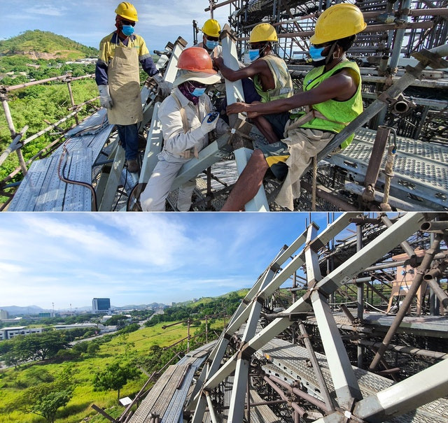 two images are shown of the house of worship under construction with workers on it