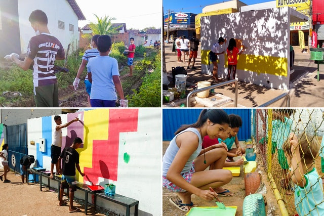 four images are shown of the youth helping out, three of which are them helping to paint walls and tires, one of which shows them helping out at a garden