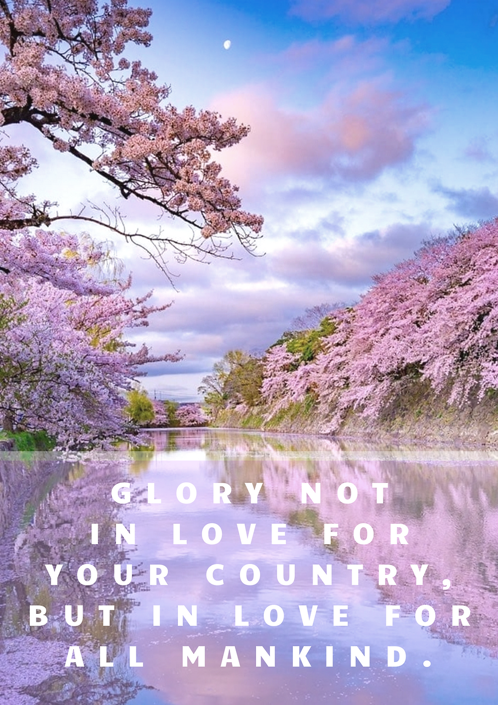 Glory not in love for your country, but in love for all mankind.