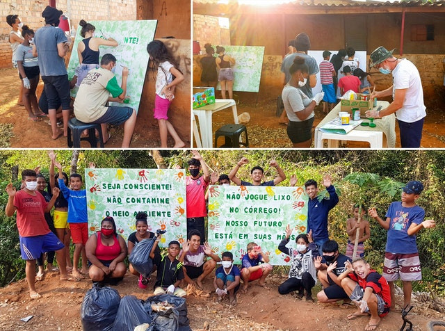 three images are shown of the youth painting two signs to raise awareness