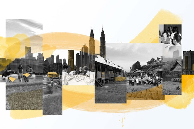8 images are shown of different environments in malaysia from the cityscapes to the country, with various people in the images