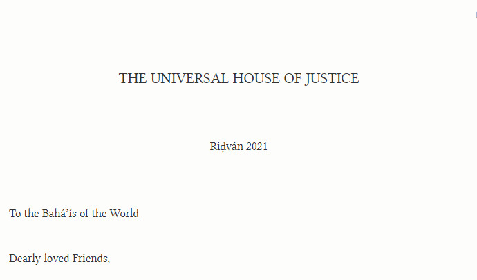 Ridvan Message 2021 from the Universal House of Justice