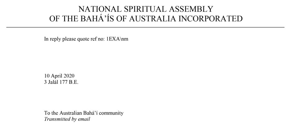 Message from the National Spiritual Assembly of Australia