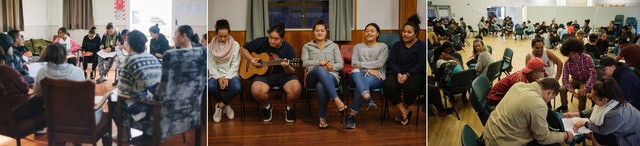3 photos are shown of larger gatherings of people coming together and socializing. the first photo shows them in a circle, the second shows them singing, with one on a guitar, the last photo shows a larger gathering where small groups are positioned around the room in a circle