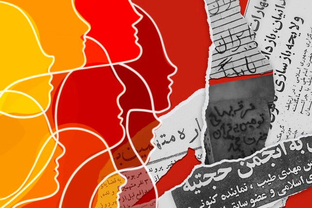 different side profiles are shown in shades of yellow to red are shown next to ripped up pieces of paper with persian writing on them