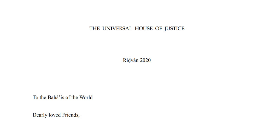 Ridvan 2020 Message of the Universal House of Justice