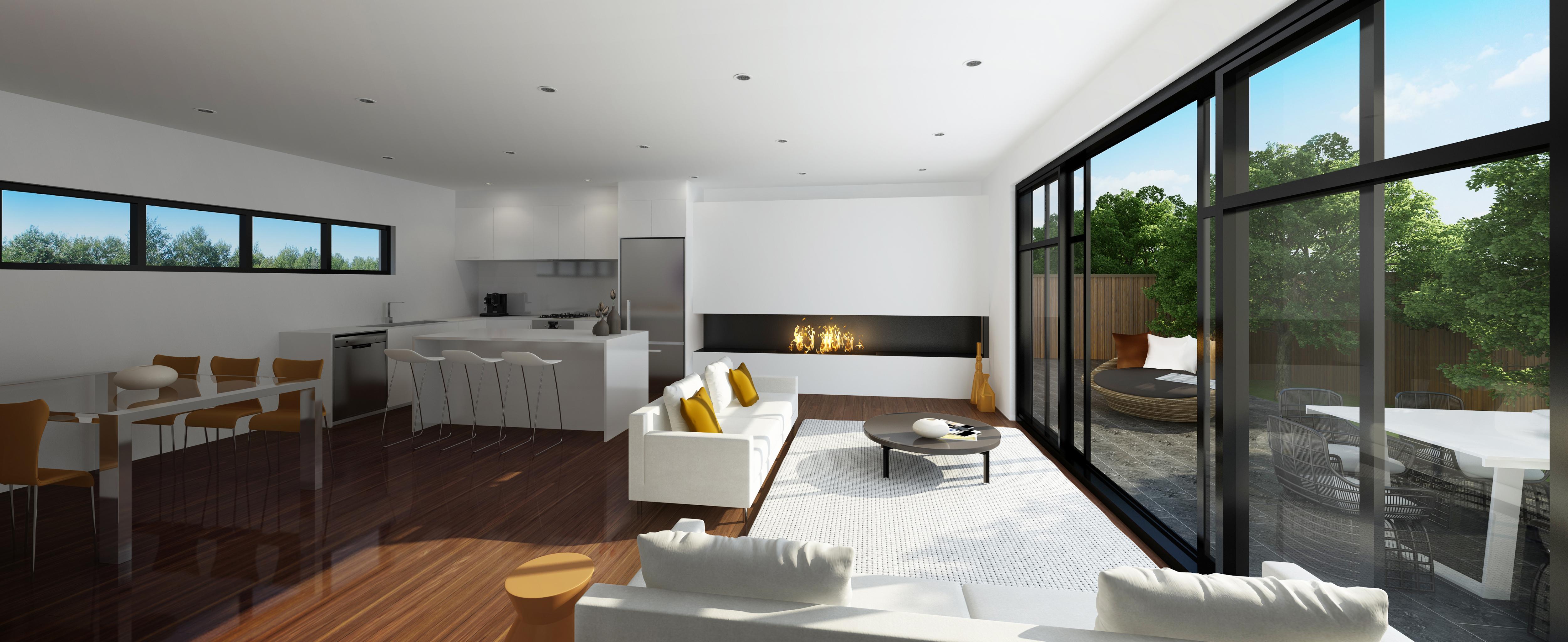 White Open Plan Kitchen Living