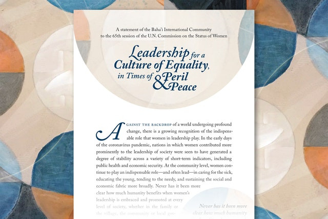 """a piece of text is shown on a patterned background. the title of the text says """"leadership for a culture of equality, in times of peril and peace"""""""