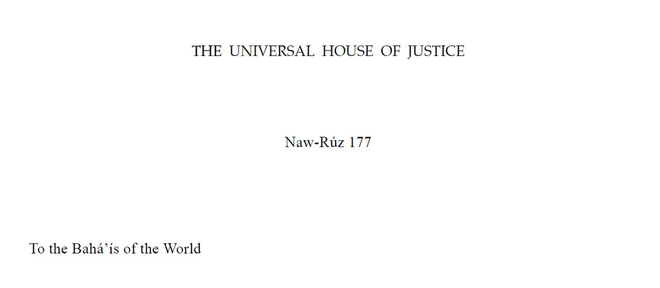 Naw-Ruz 177 B.E. message from the Universal House of Justice