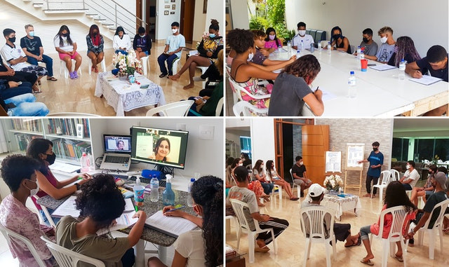 four images are shown of youth baha'i gatherings