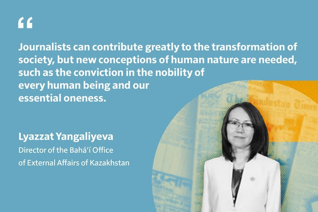 an image of lyazzat yangaliyeva are shown next to a quote by her