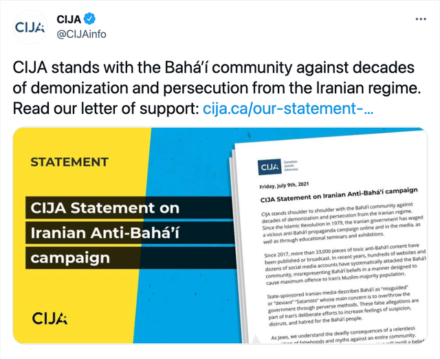 """a tweet by CIJA with the text """"CIJA stands with the Baha'i community against decades of demonization and persecution from the Iranian regime. Read our letter of support: cija.ca/our-stament-..."""" then an image of the statement is shown underneath"""