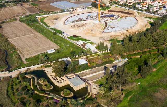 Shrine of 'Abdu'l-Baha: Concrete bases for garden berms completed