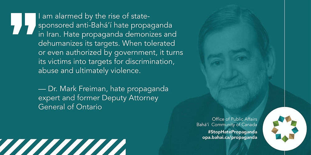 an image is shown of Dr. Mark Freiman, next to a quote about how bad the anti-baha'i propaganda is in iran. It is pictured on a blue background